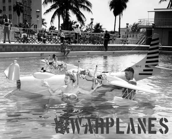 A flying model of the Tradewind with Bowloader conversion is here promoted in a swimming pool by movie star Esther Williams. (Mark Nankivil collection)
