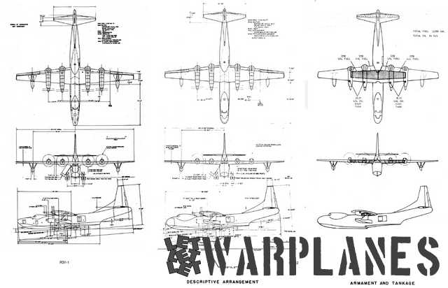General 3-view arrangements of both R3Y-1 and R3Y-2.