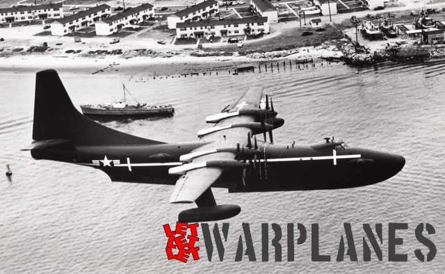 The XPB5Y-1 flying low over the San Diego bay in California. The white lines on the fuselage were applied to make optical tracking easier. (Consolidated Vultee photo A 1452A)