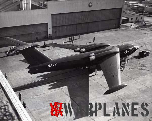 XP6M-1 prototype outside the production hall at Martin with rubber matting protection still on the wings.