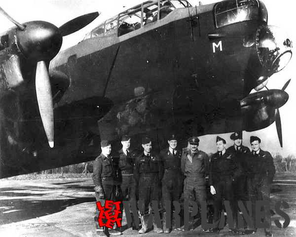 Captain Swales and his crew in front of a Lancaster