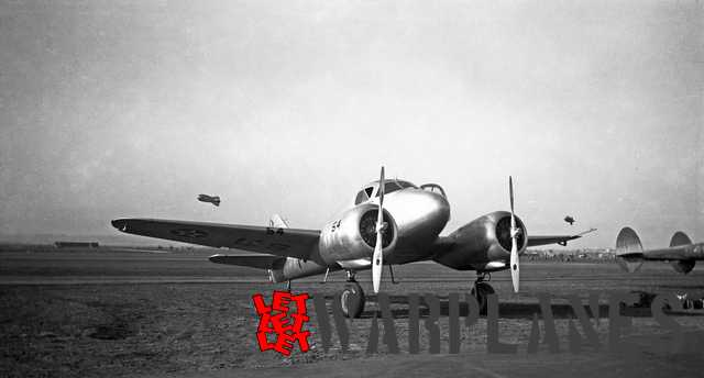 AT-9 at Mines Field. Mines Filed would later become Los Angeles International Airport! Also here, P-38's were present as well as barrage balloons (Mark Nankivil collection)