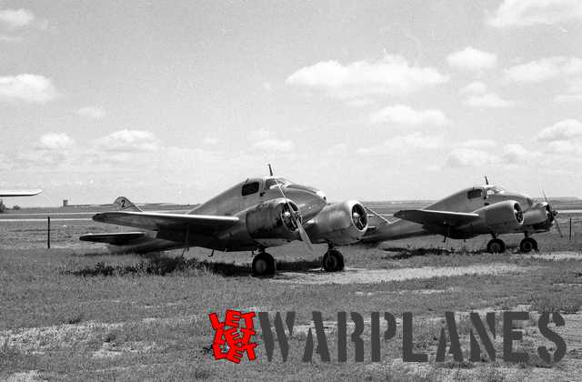 Unidentified AT-9's at Tulsa Oklahoma. This photo was taken on 18 May 1953. The removed propeller served without doubt to prevent unauthorized flying (Mark Nankivil collection)