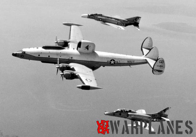 An F-4B, EA-4F and a EC-121K flying formation off of Virginia.  All aircraft shown are from VAQ-33 electronic adversary squadron