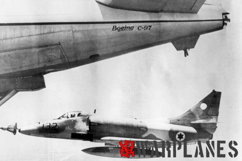 Israeli air force A-4H being refuelled from a Boeing C-97 tanker. Note censored tail symbol!