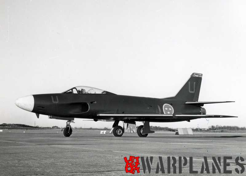 The J 32B Lansen 'Sport' first prototype at first flight on 7 January 1957. Pilot was Capt. Bo Bjernekull of SAAB's Flight Test Department. (SAAB Sonics)