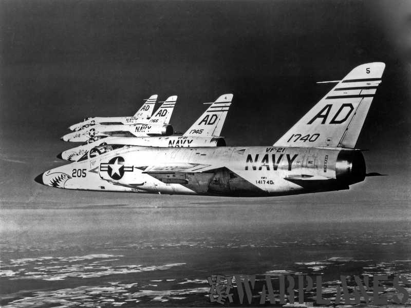 Formation of four Long-nose Tigers from VF-21 with sharkmouth decoration. (Grumman photo)