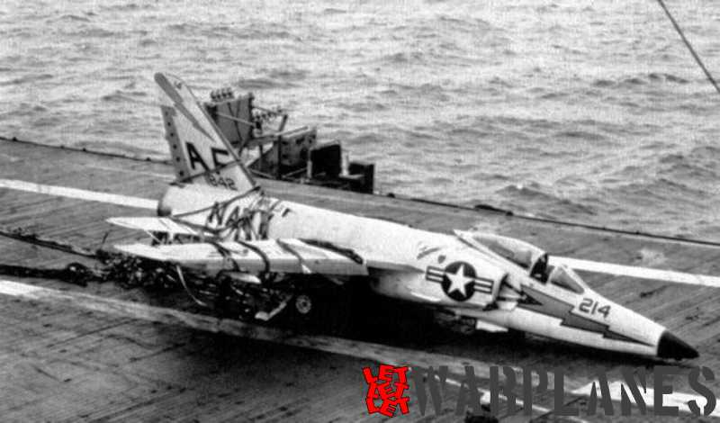 Not all deck landings were perfect and Tiger no. 141842  from VF-33 ended in the barrier of USS Intrepid! (Mark Nankivil collection)