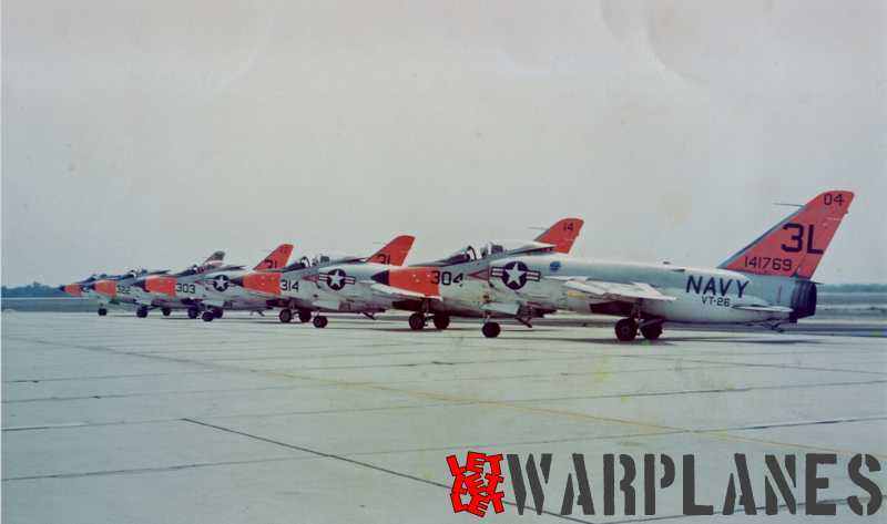 A row of Long-nose Tigers  with no. 141769 in front from Training Squadron VT-26. (Mark Nankivil collection)