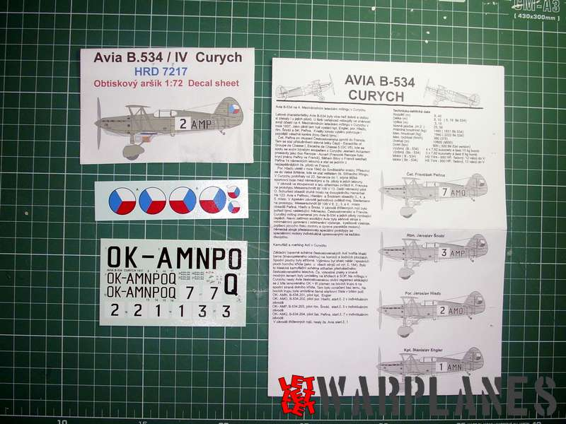 This Avia B.534 Royal Class was finished with additional set of decals for racer version of Avia B.534, available from Hobbyshop, Czech republic