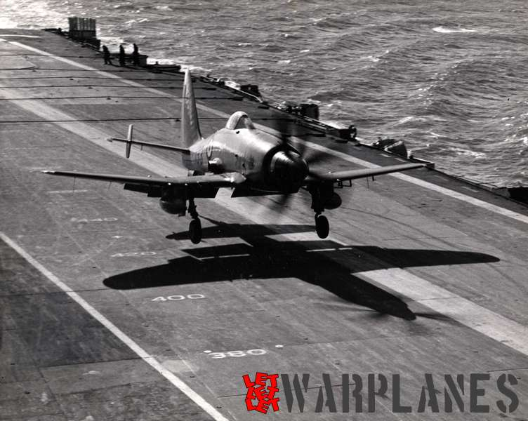 Deck landing of the final Wyvern S.4 with the additional stabilizers on the horizontal tail