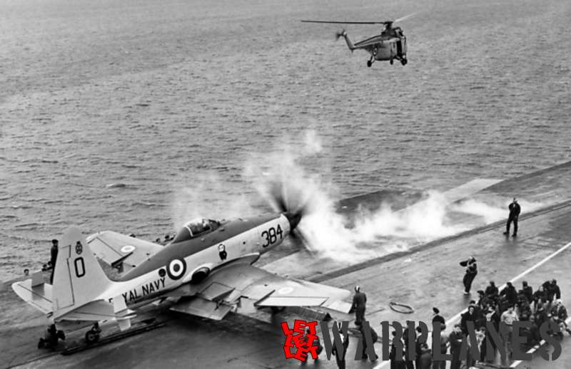 Wyvern S.4 on the aircraft carrier Ark Royal catapult launch