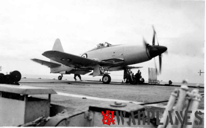Wyvern TF.2 on board of the aircraft carrier Illustrious during deck landing trials