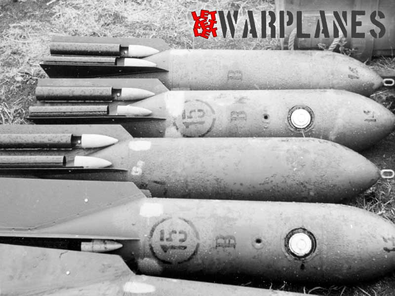 SC 50 bomb bombs, possibly in RLM 02 color. Note whistlers are in front part natural metal and rest body in color the same as bomb main body. Also stencils differ from decals seen in Eduard set.