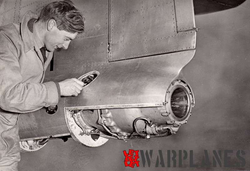 Another official Hawker photo with 'man at work' at the Snarler rocket engine