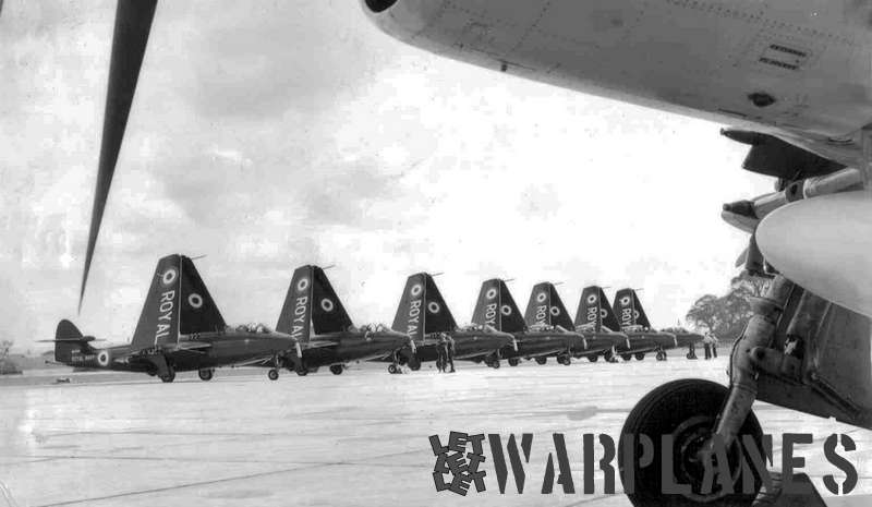 A row of Seahawks from 738 Sqn. at Ford, Sussex underway to the Farnborough Airshow of September 1957 (Dave Smith collection)