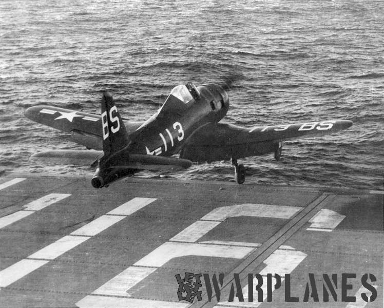 FR-1 BS113 from VF-1E being launched from the deck of aircraft carrier USS Bandoeng Strait in 1947.