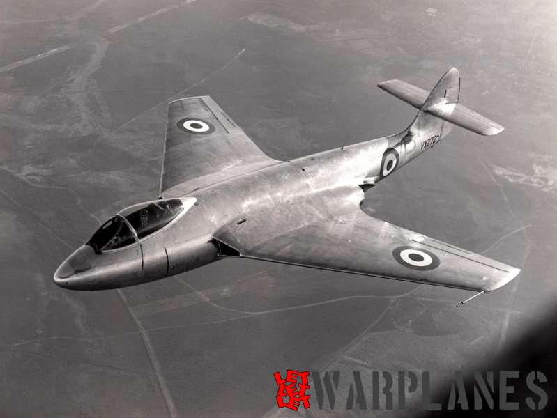 The P.1052 VX272  during the initial flight phase in bare metal colours and with straight tail surfaces without the tail bullet fairing fitted.